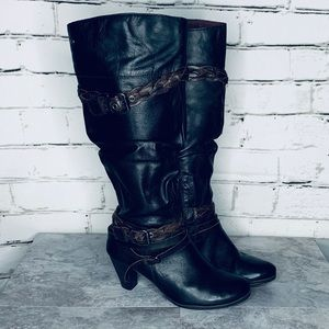 PIKOLINOS Vernoica Black/Brown Tall Slouch Boots